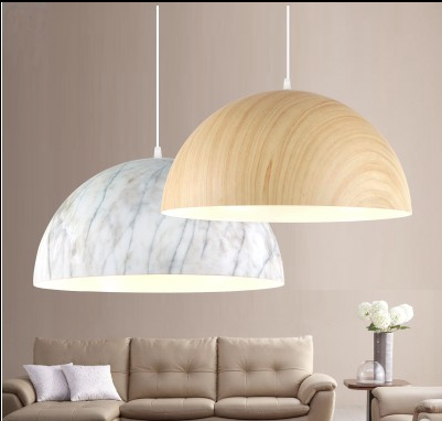 Wood-coloured hanging light